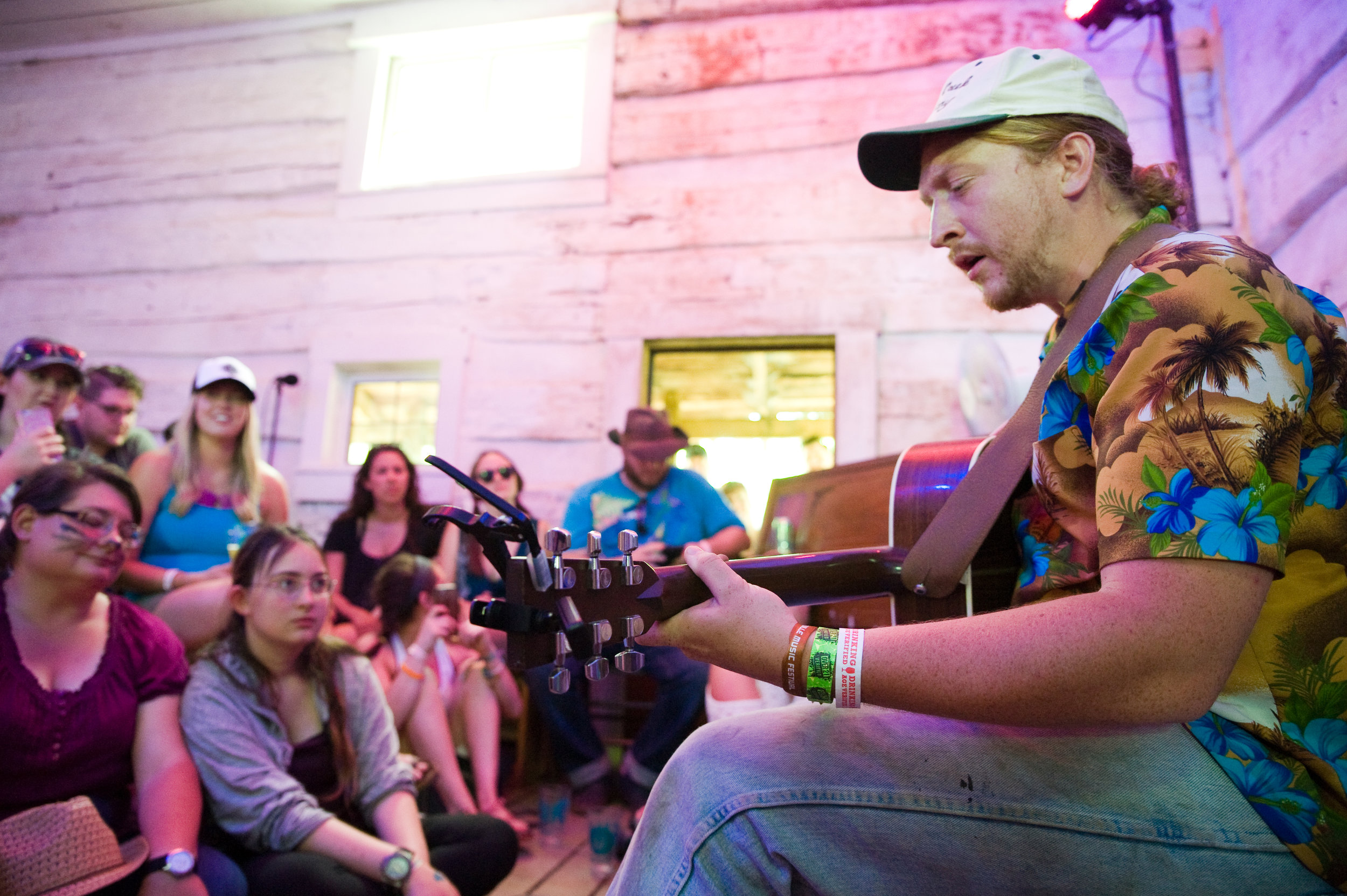 Tyler Childers in the No-Fi Cabin at this year's Nelsonville Music Festival, by Michelle Waters.