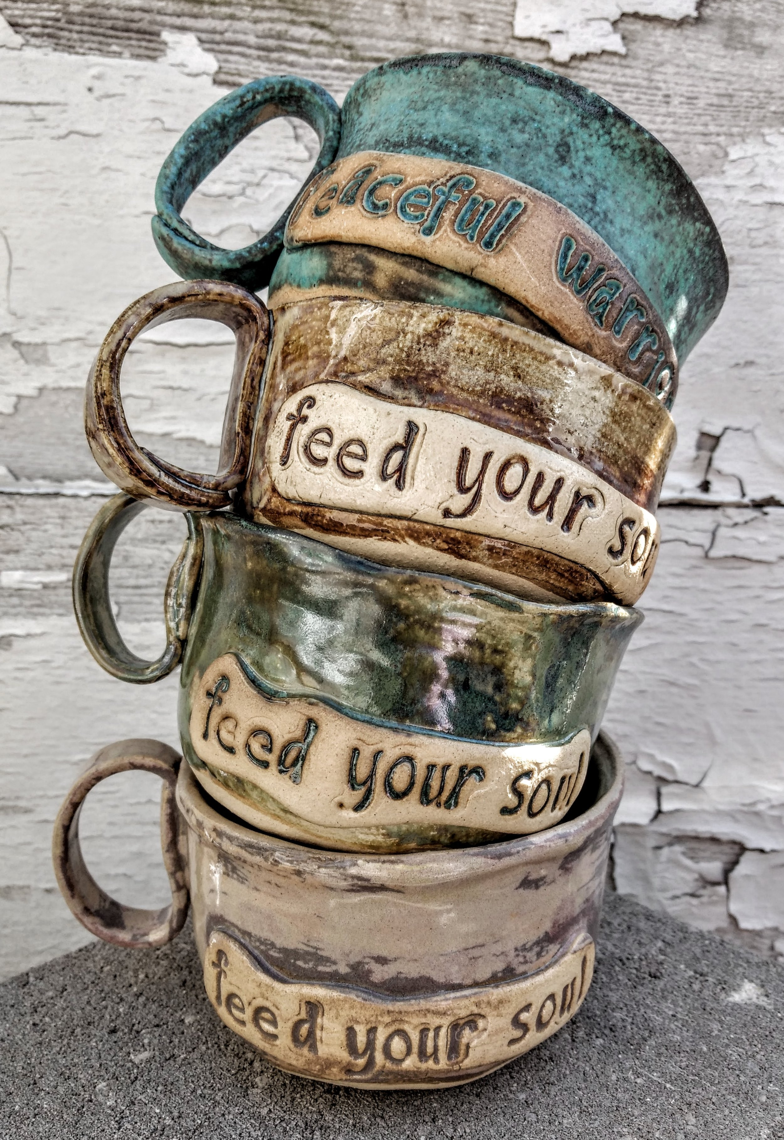 JUMBO MUGS / BOWL - PEACEFUL WARRIOR OR FEED YOUR SOUL