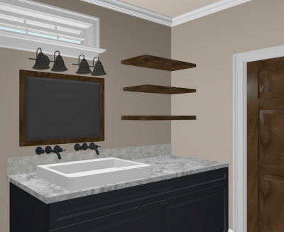 Here is an elevation drawing of the double sink, wall mounted fixtures, and floating wood shelving.