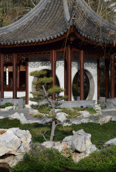 One of the buildings in the Chinese garden.