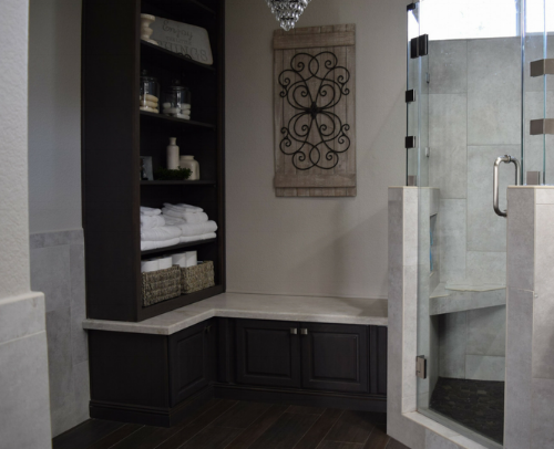Here is a view of the walk-in corner shower.