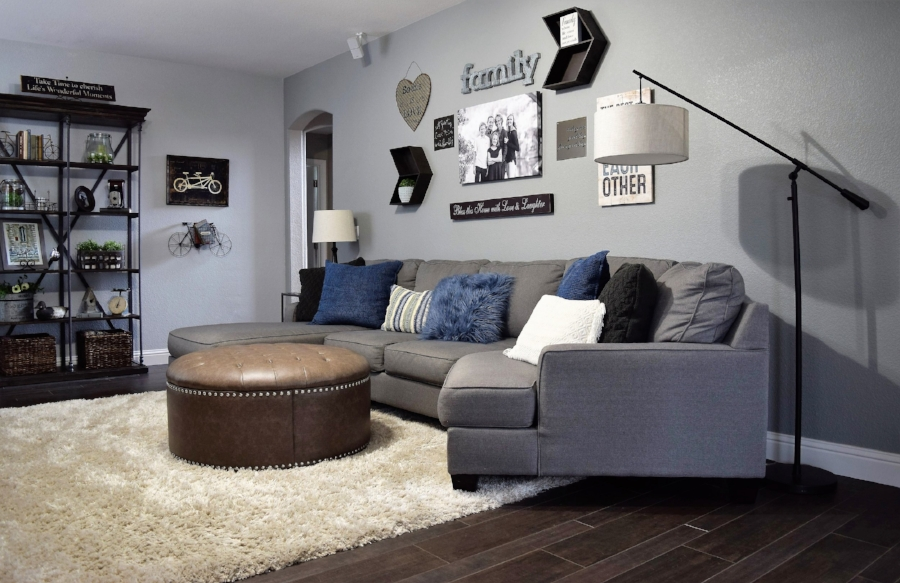 Gray Family Room Gallery Wall
