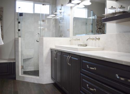 Fixer Upper Style Light Gray Corner Shower