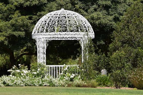 This white iron gazebo was surrounded by white roses and greenery.
