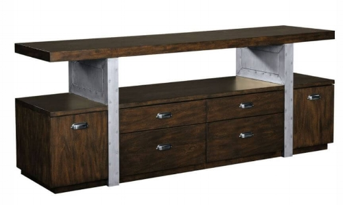 This storage console has drawers that open from either side adding to its functionality.  It also has a mix of materials.