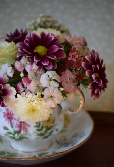 Here's the teacup bouquet I made for my mom for Mother's Day!