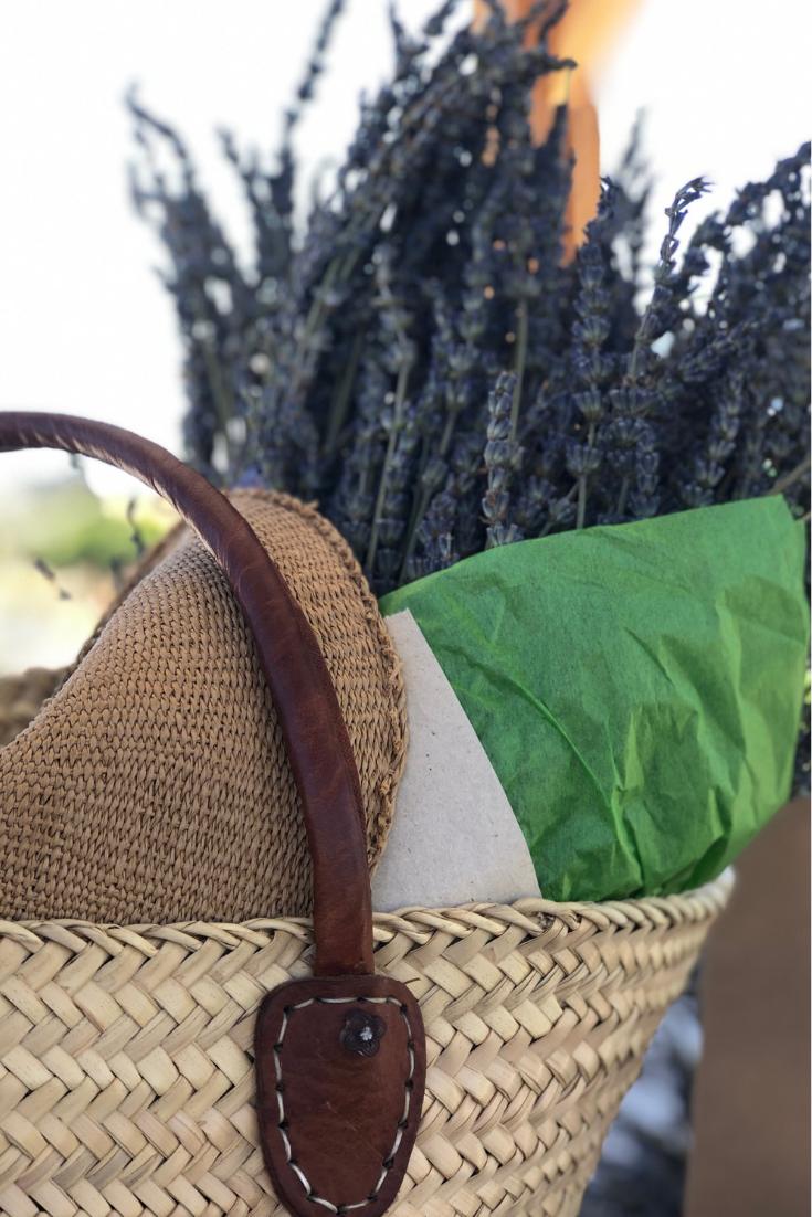 My basket full of lavender bundles.