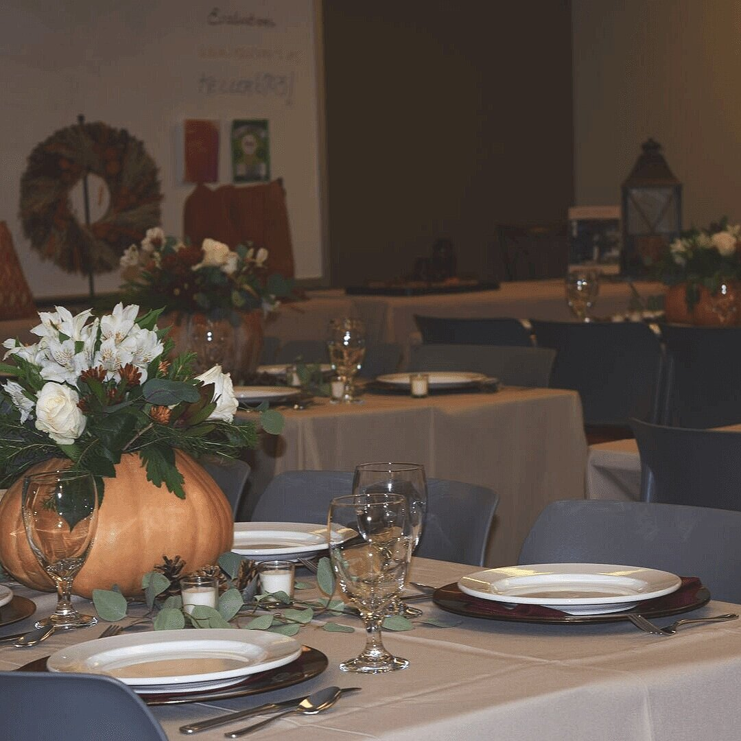 A view of the classroom set up as a dining room.