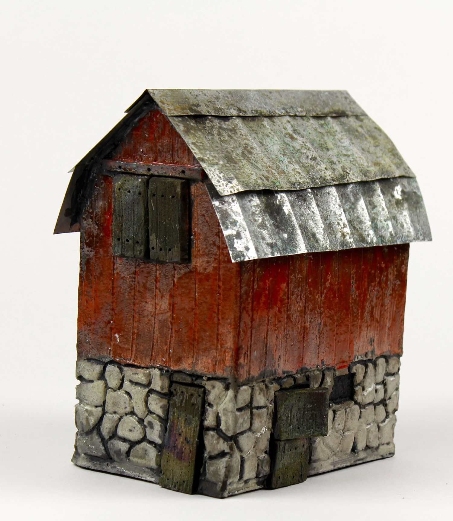 "Body (The barn from Body, Mind and Soul.)  Raku and metal, hand-built, 7""x4.5""x7"""
