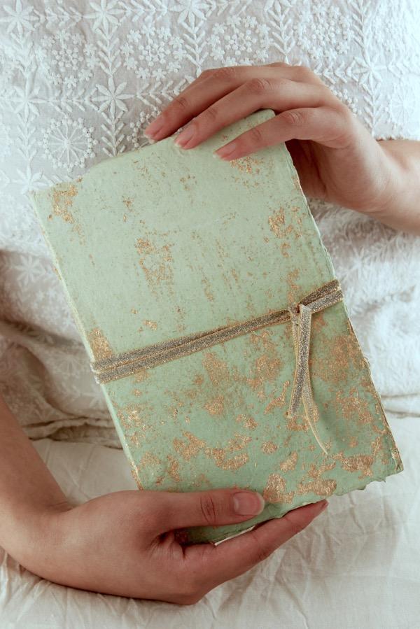 handmade mint green wedding guest book