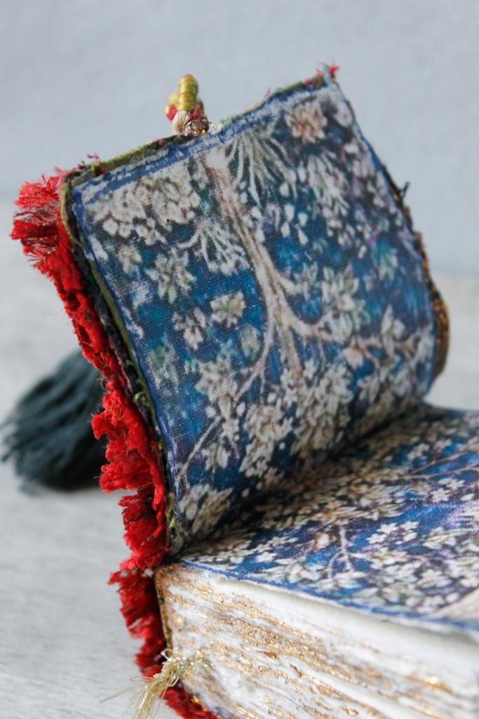 rustic fabric art journal