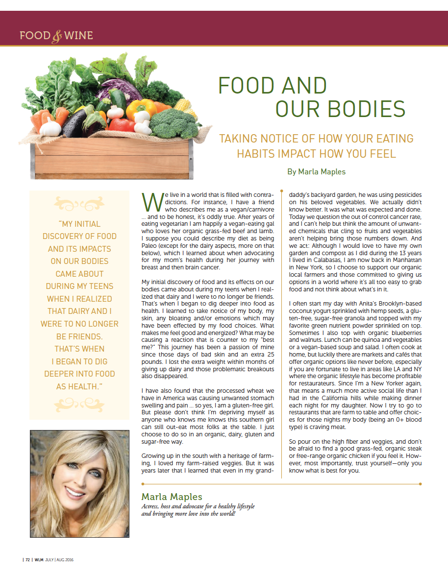 Food and Our Bodies  -by Marla Maples, for Westlake Magazine