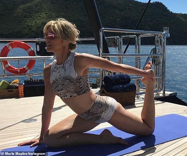Marla Maples does yoga on a yacht in Caribbean.