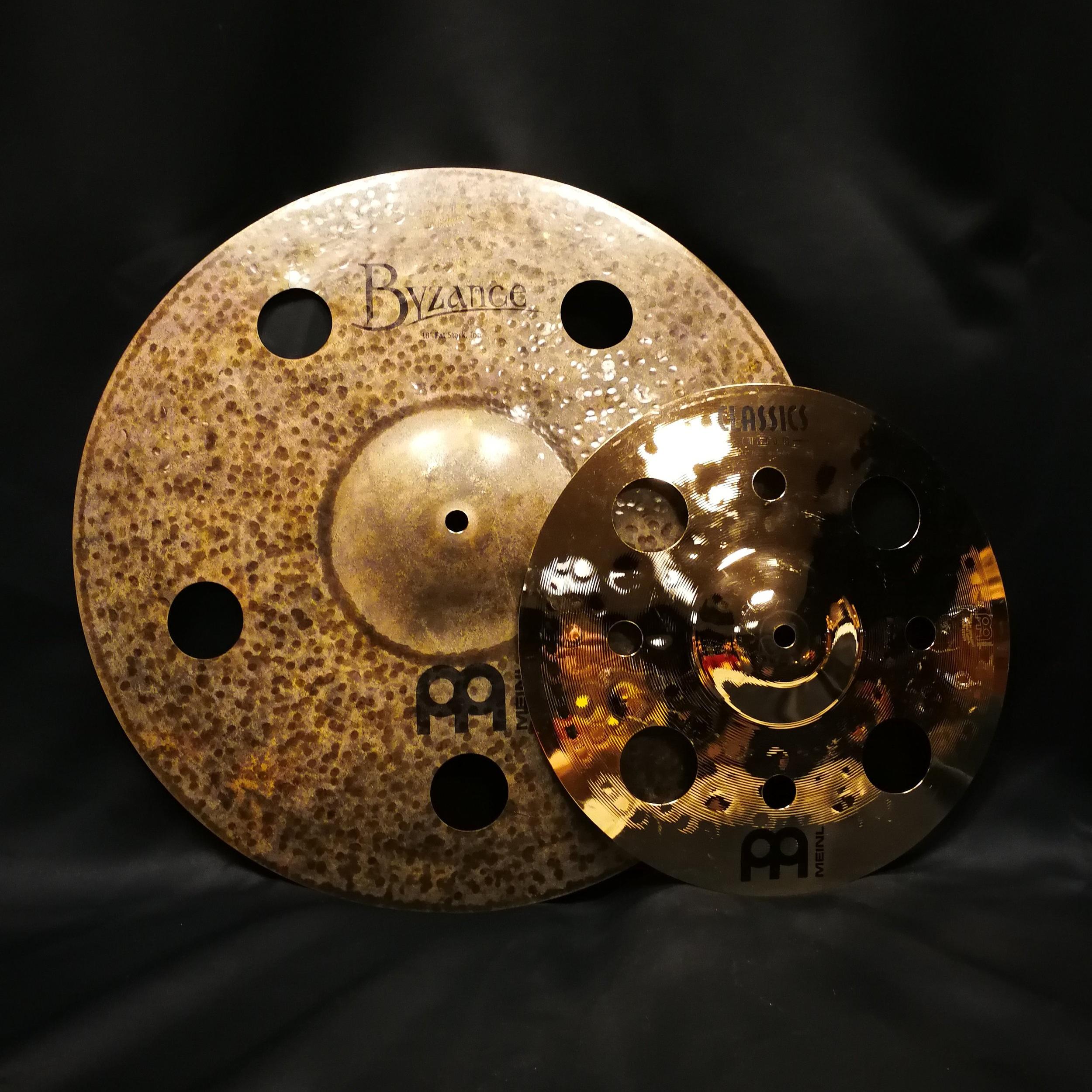 "18"" top cymbal from a Matt Garstka Fat Stack over a upside-down 12"" Classics Custom Trash Splash"