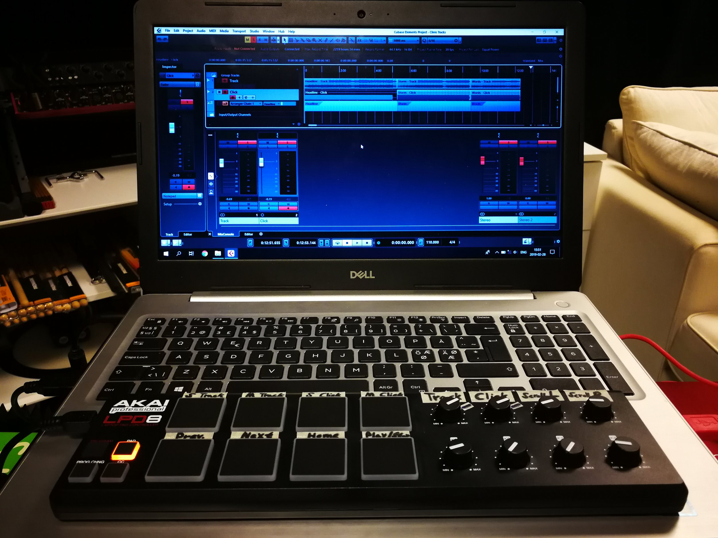 Dell Inspiron 15 laptop, Cubase 9.5 Elements and a Akai LPD8 controller for track navigation, volume control, etc.