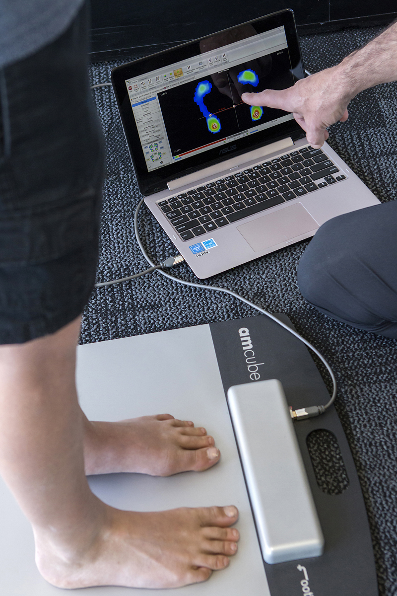 Foot Pressure Plate & Gait (walking) Analysis - The foot plate analysis uses the latest plantar pressure plates technology to measure your foot pressures, weight distribution and stability. Understanding how your feet are functioning is the first step of diagnosis and treatment. Followed by analysing your gait (walk) using slow motion camera.