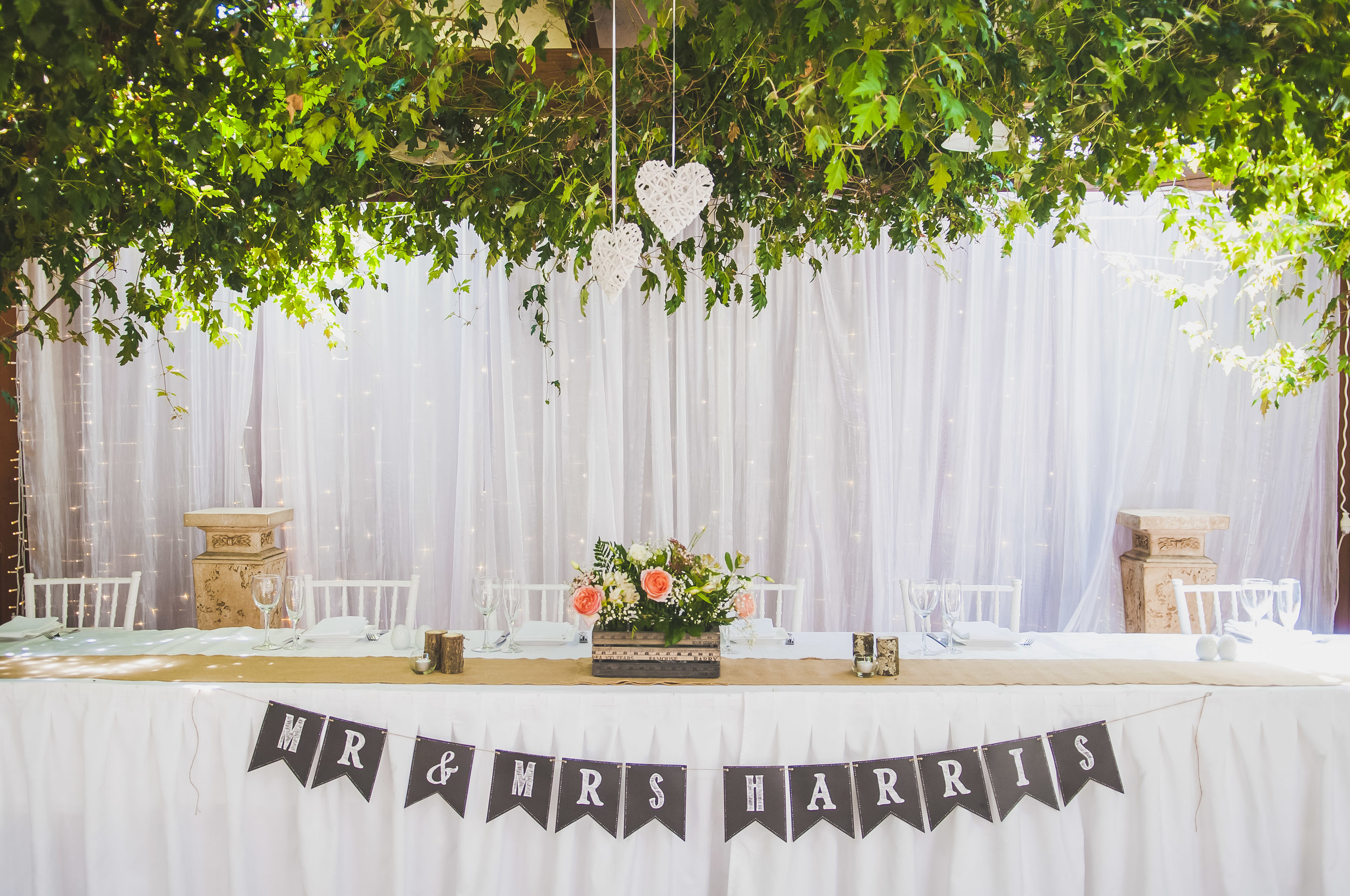Wedding photo of top table and decorations