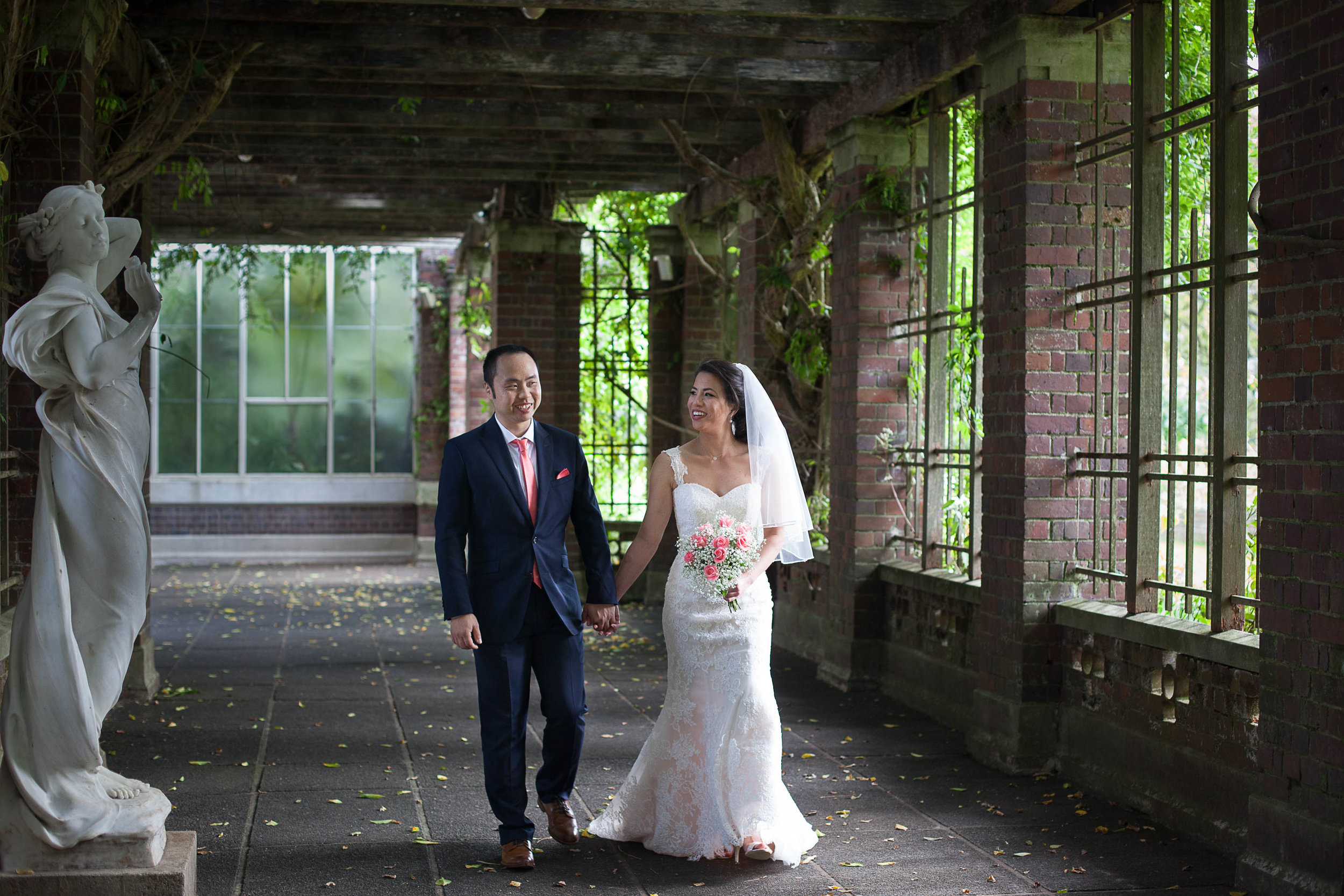 Bride and Groom in covered gardens