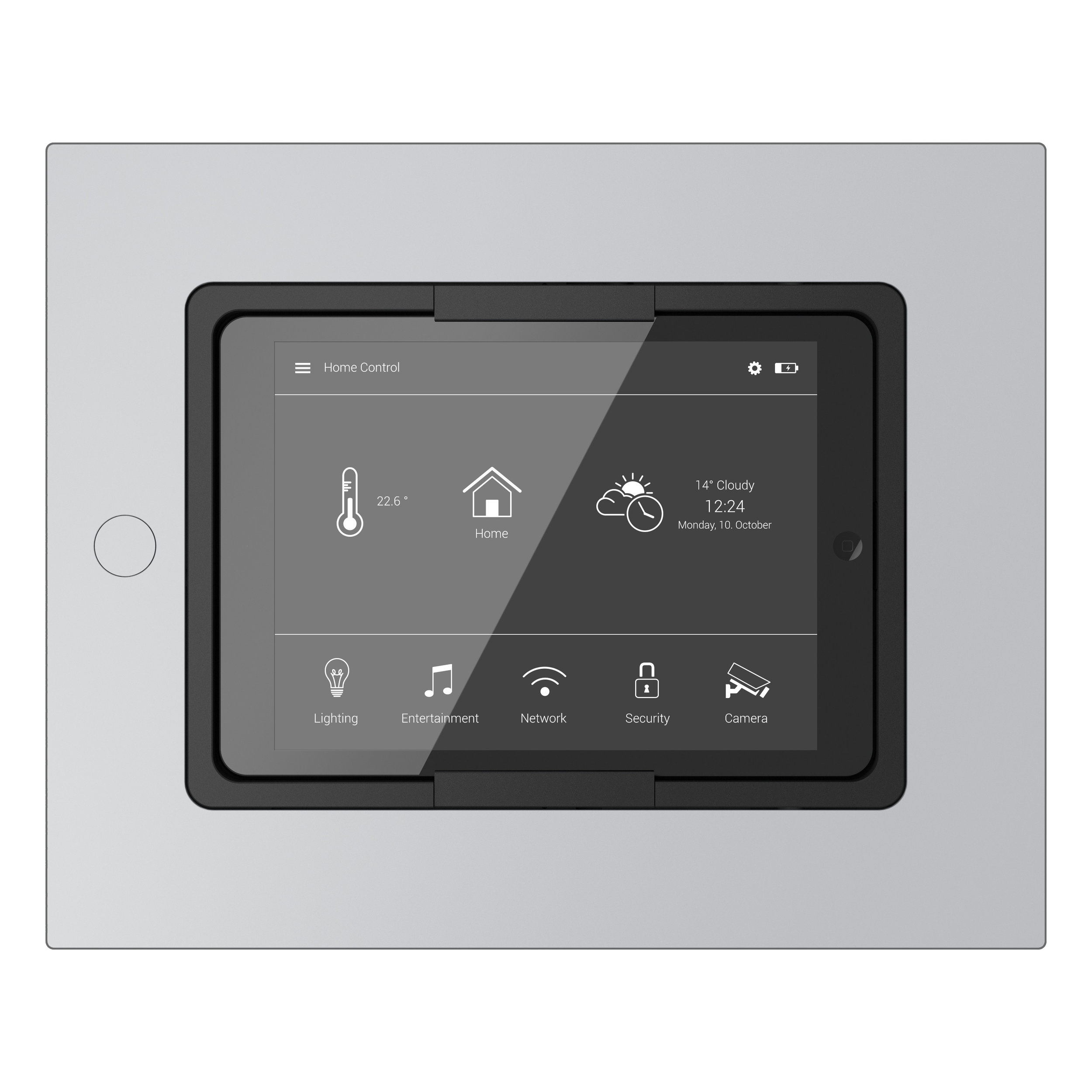 Square iPad Mount for Smarthomes in Super Silver