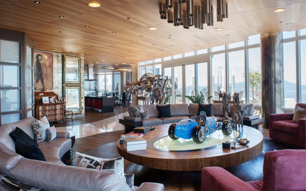 Tom Perkins Grand Penthouse  Living Room by Ryan Associates