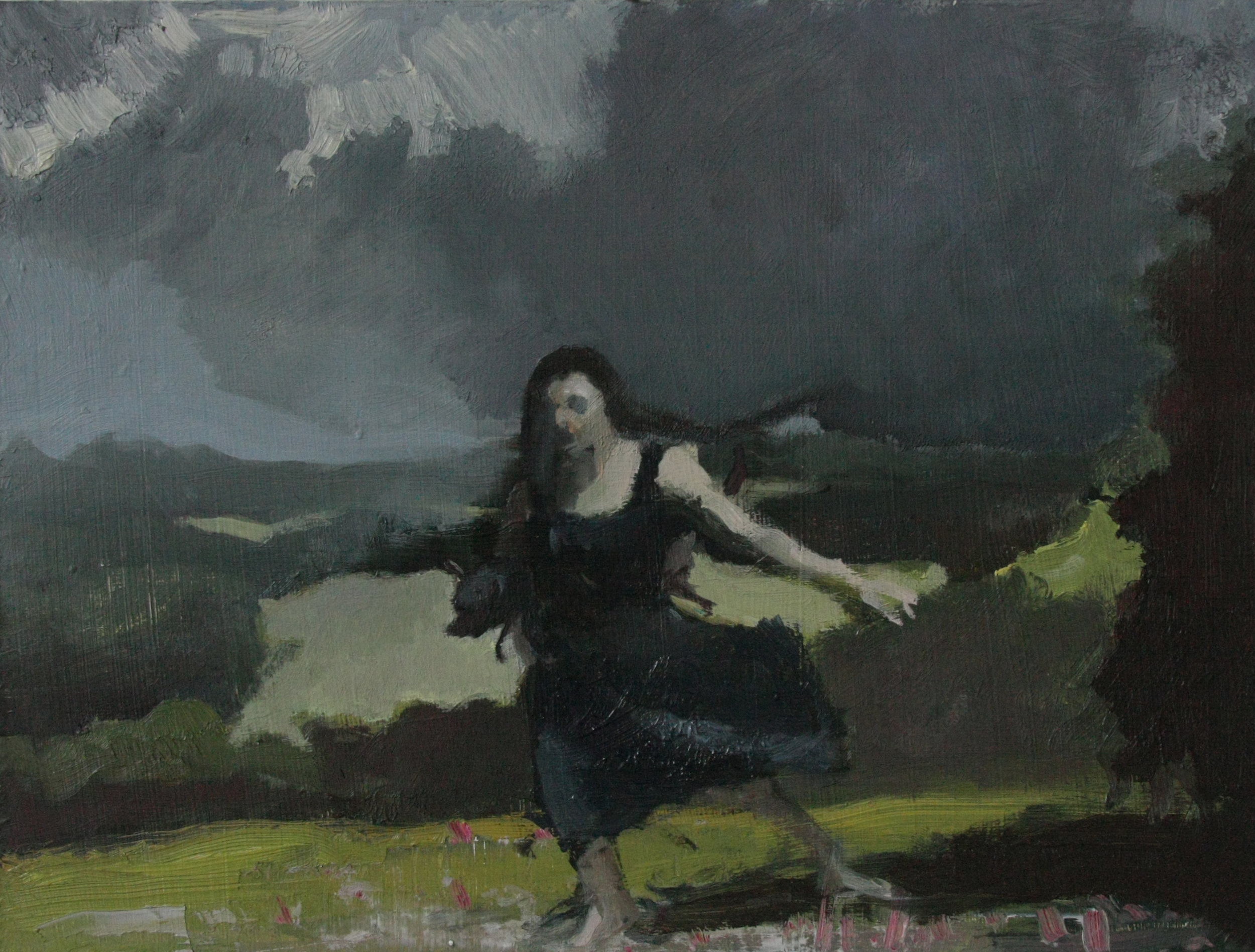 Woman and Dog Fleeing a Storm