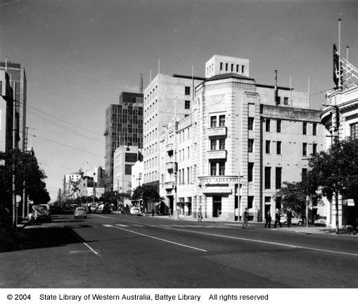 Adelphi Hotel, from west end of St George's Terrace, 1957
