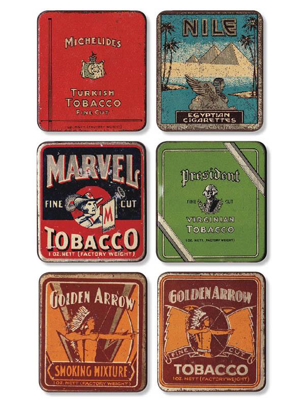 Tobacco tins, Michelides Ltd tin at top left.