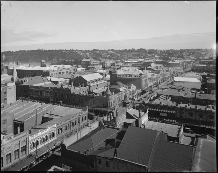 View across the roof of the Prince of Wales Theatre down Murray Street to West Perth (J Masel & Son's building bottom right of centre)
