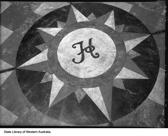 Marble Mosaic of the sun on the floor