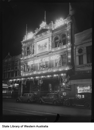 Perth City Council building, lit to celebrate Coronation of King George VI, 1937