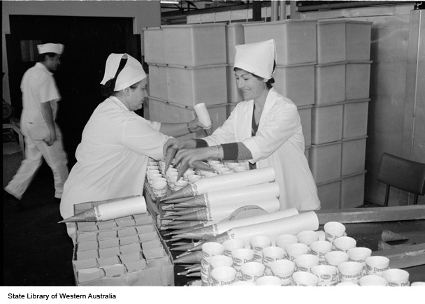 """Packaging for """"Drumstick"""" ice creams, Peters Ice Cream factory, ca 1984"""
