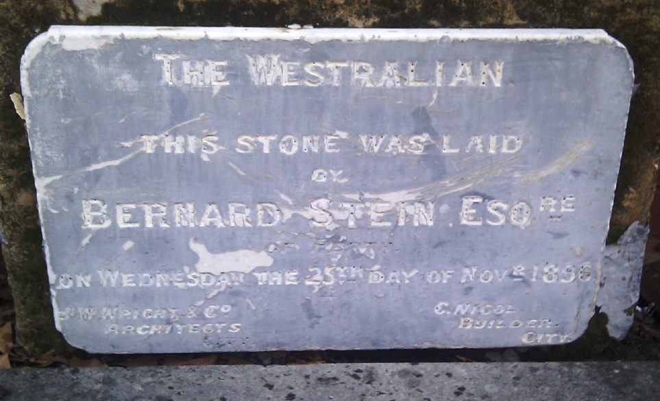 Foundation stone of Stein's Coffee Palace, later the Federal Hotel, laid 26 November 1896