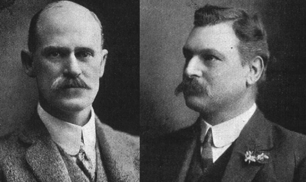 Partners in Oldham Cox: Charles Oldham (left) and Alfred Cox (right).