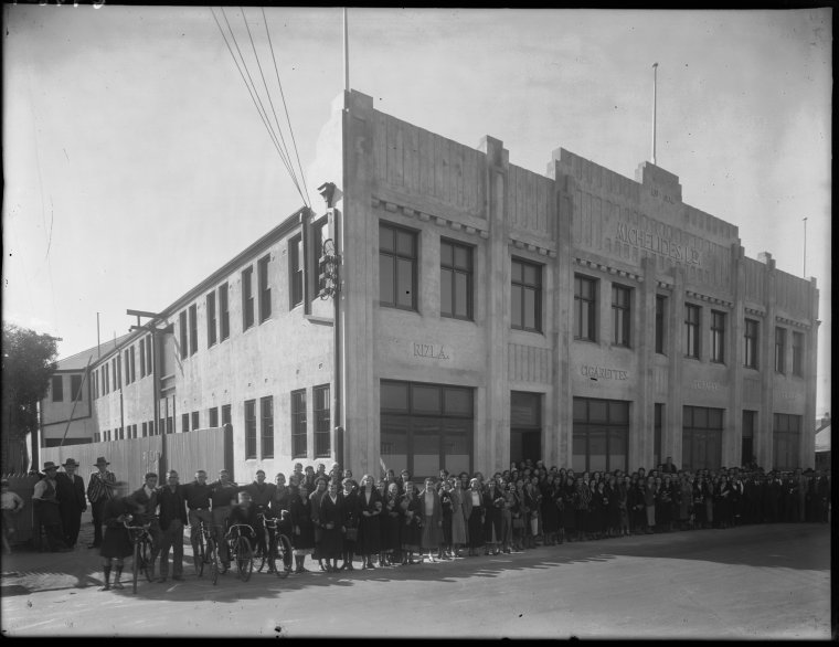 Staff outside Michelides Tobacco Factory, 1934.