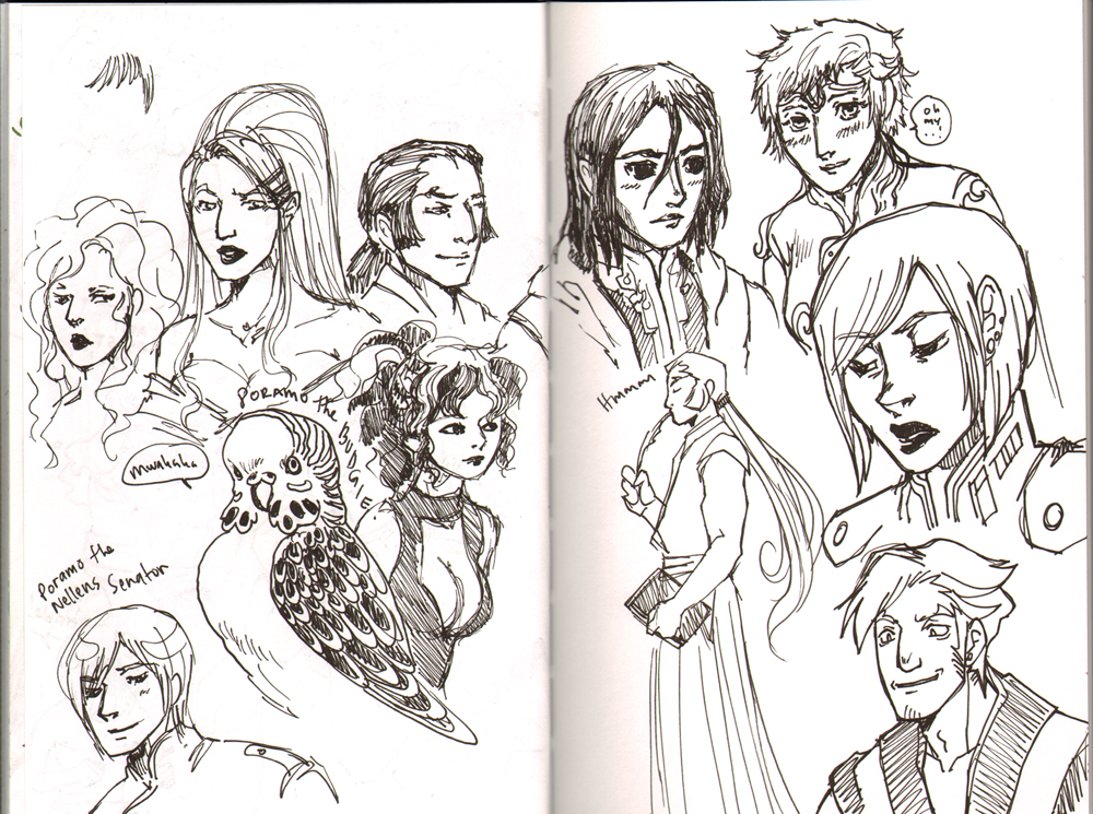 Exalted game sketchbook page