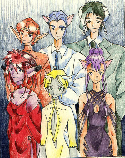 Main characters of Arcana, a 316 page comic I drew between 1997 - 1998
