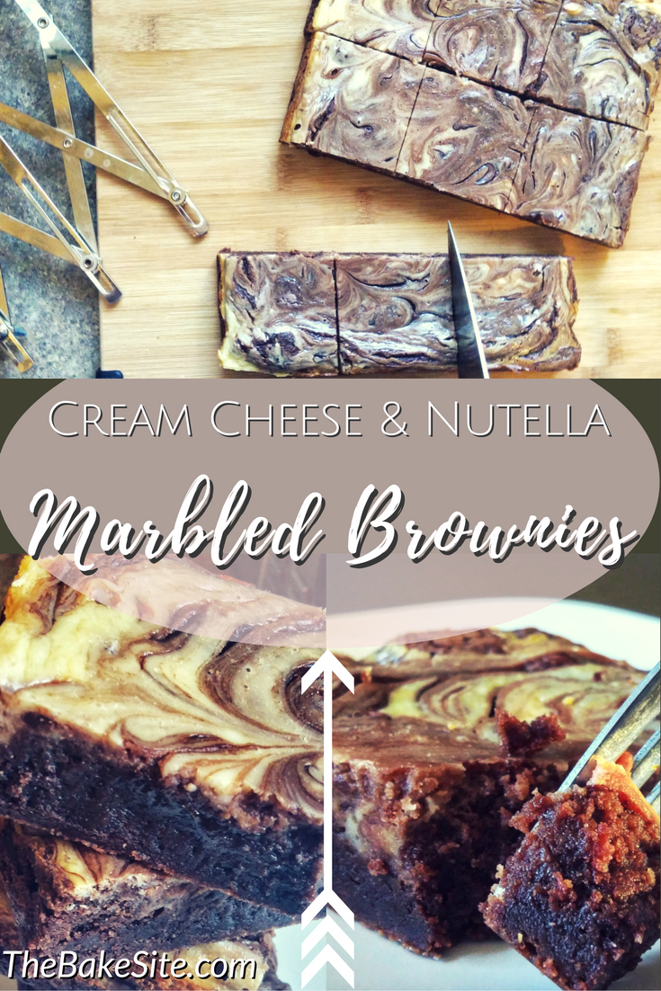 Dense, fudgy chocolate brownies with a tangy swirl of cream cheese and the unbeatable addition of Nutella. These brownies are a chocolate-lover's happy place. | The Bake Site