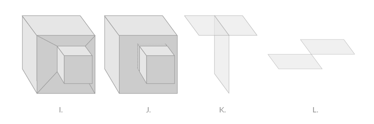 I. Clean box modeling in quads. J. Intersecting cubes K.  non-manifold geometry  L. non-manifold geometry