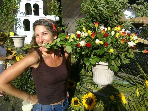 Phebe eating a flower