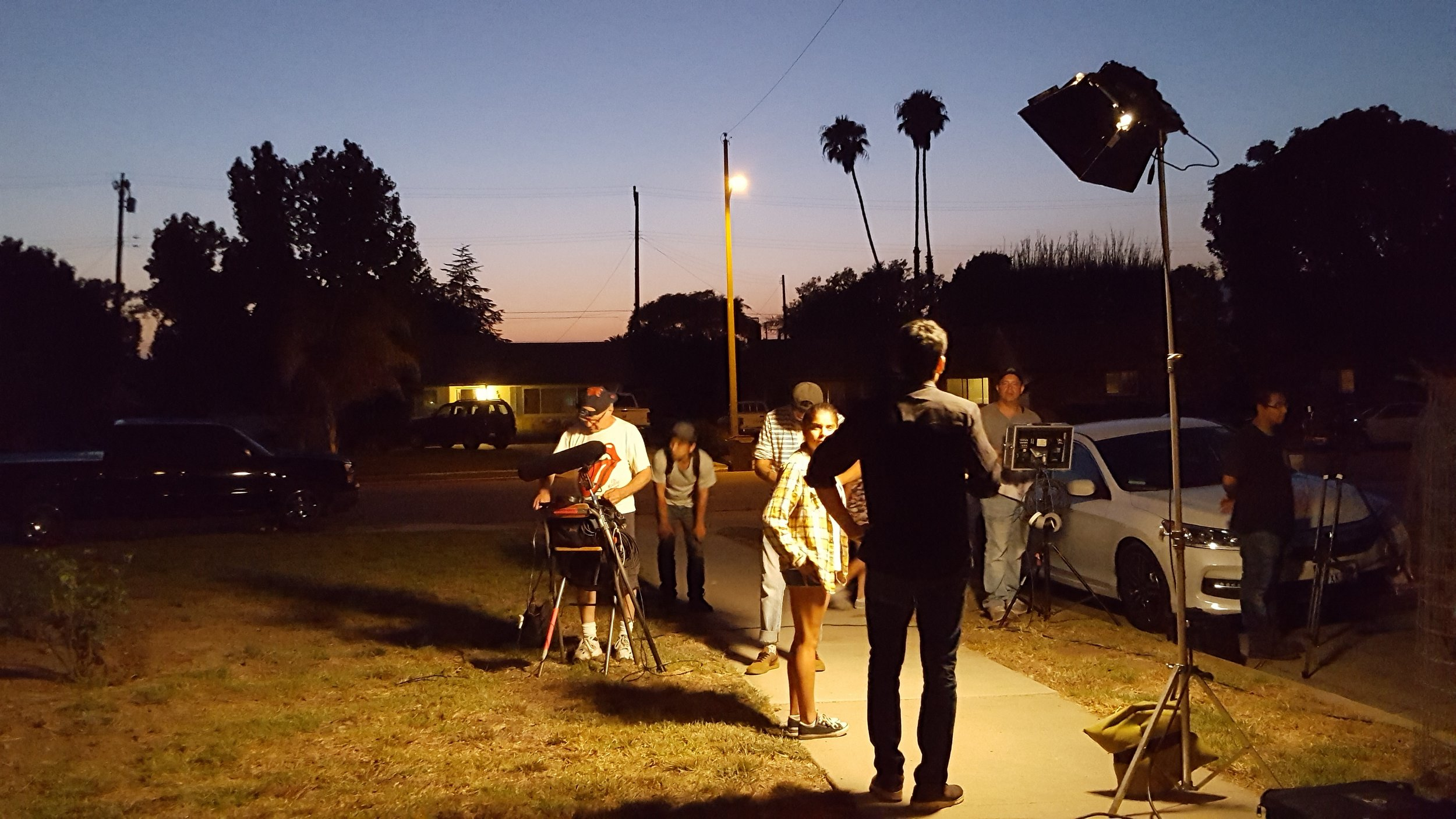 Lead actors get ready for a rare night scene in Salsipuedes Street