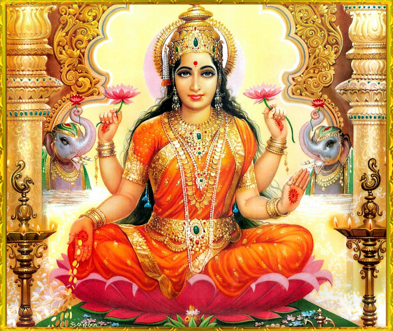 Lakshmi  is the Hindu goddess of wealth, fortune, and prosperity (both material and spiritual). She is the wife and active energy of God  Vishnu , who is Supreme God in  Vaishnavism . Her four hands represent the four goals of human life considered important to the Hindu way of life –  dharma ,  kama ,  artha , and  moksha . Om Shreem Maha Lakshmiyei Namaha.