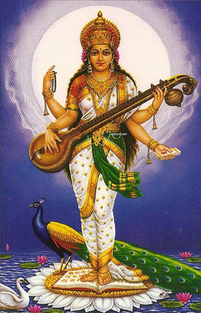 Saraswati (Sanskrit: सरस्वती, Sarasvatī) is the Hindu goddess of knowledge, music, arts, wisdom and learning. She is a part of the trinity of Saraswati, Lakshmi and Parvati. All the three forms help the trinity of Brahma, Vishnu and Shiva to create, maintain and regenerate-recycle the Universe respectively.  The earliest known mention of Saraswati as a goddess is in Rigveda. She has remained significant as a goddess from the Vedic period through modern times of Hindu traditions. Some Hindus celebrate the festival of Vasant Panchami (the fifth day of spring) in her honour, and mark the day by helping young children learn how to write alphabets on that day. The Goddess is also revered by believers of the Jain religion of west and central India, as well as some Buddhist sects. Om Eim Hreem Kleem Maha Saraswati Namaha.