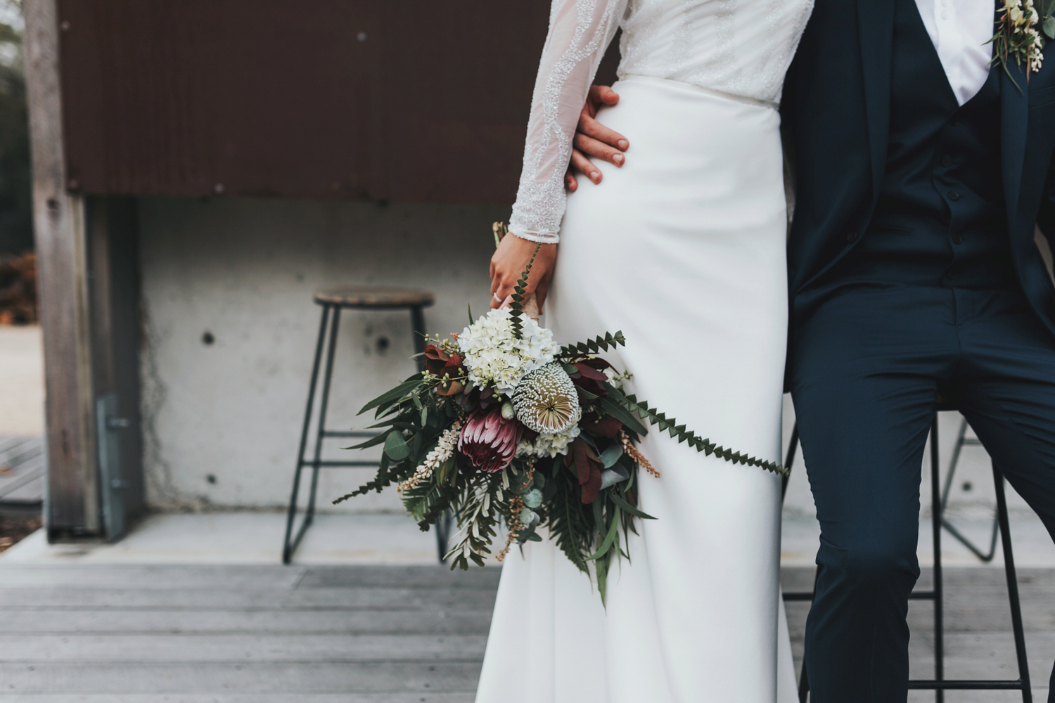 beautiful image of native bouquet being held by bride.