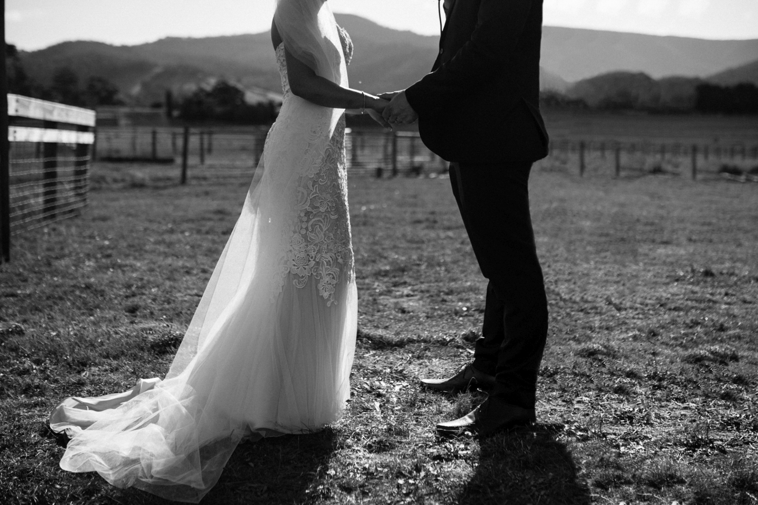 beautiful picture bride and groom hold hands at their wedding ceremony  at willie smiths apple shed