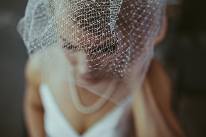 Bridal veil detail shot of wedding in Helsinki Finland.