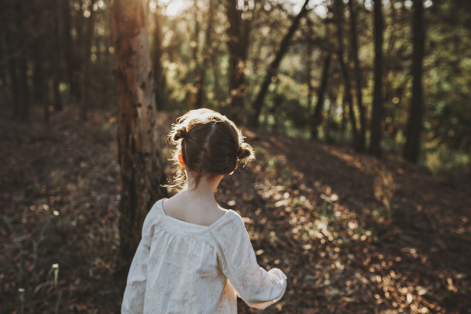 Girl explores forest during beautiful natural photo session.