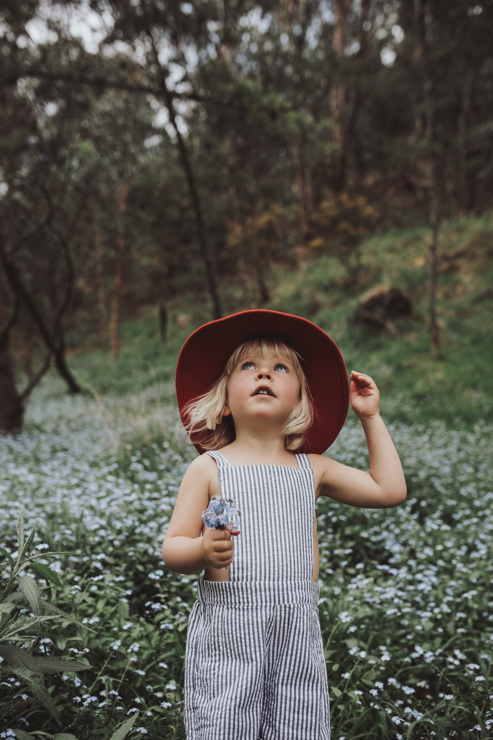 Young girl looks up in field of flowers with felt hat and posy o