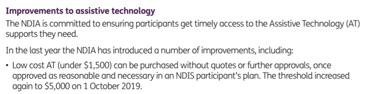 Alt tag: Low cost AT (under $1,500) can be purchased without quotes or further approvals, once approved as reasonable and necessary in an NDIS participant's plan. The threshold increased again to $5,000 on 1 October 2019.
