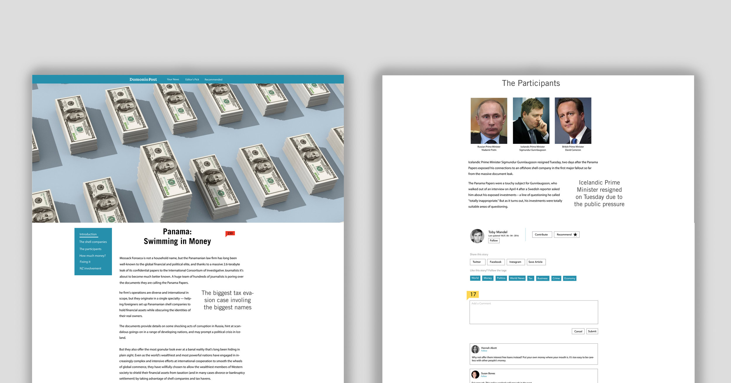 Example of a feature article page