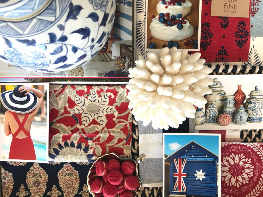 Happy Australia Day!  Today we get to celebrate how lucky we are to live in such a beautiful country. We thought what better way to celebrate the colours of our flag than with an inspiration board we've created for you in blue, red & white! This is a colour scheme we will be channeling a lot more in 2017.
